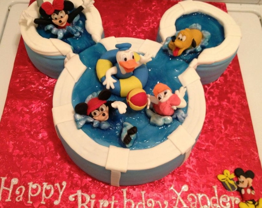 Mickey Pool Party Cake on Cake Central