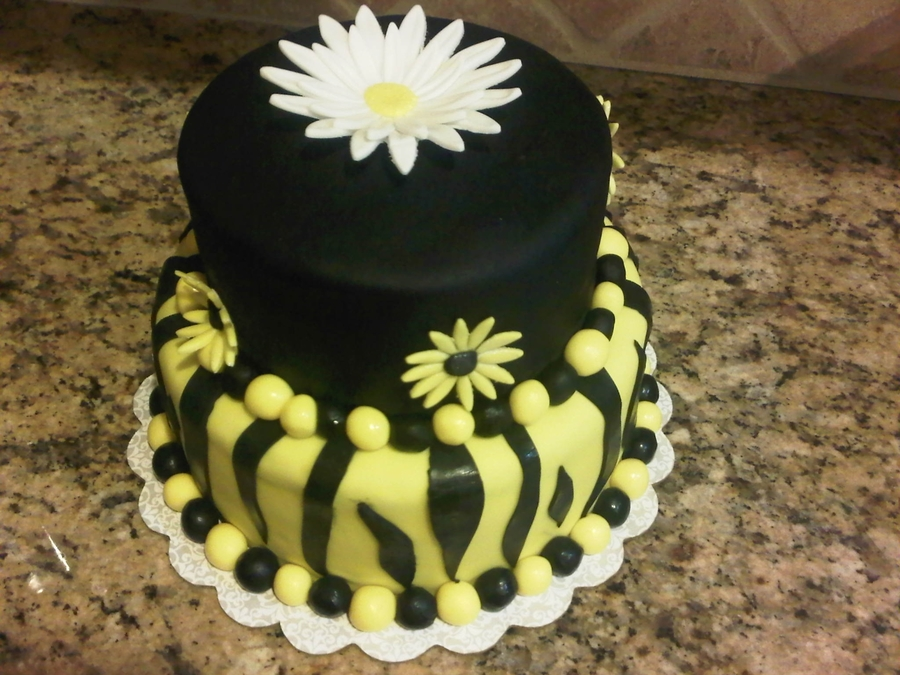 Black And Yellow/daisy/zebra Stripes on Cake Central