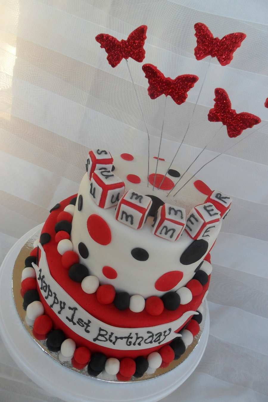 Red White Black Birthday Cake CakeCentralcom
