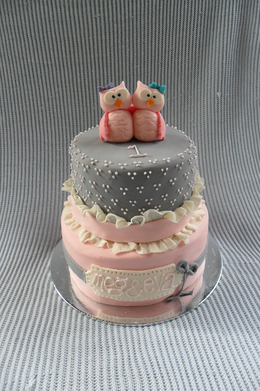 Owl Cake For Twin Girls on Cake Central