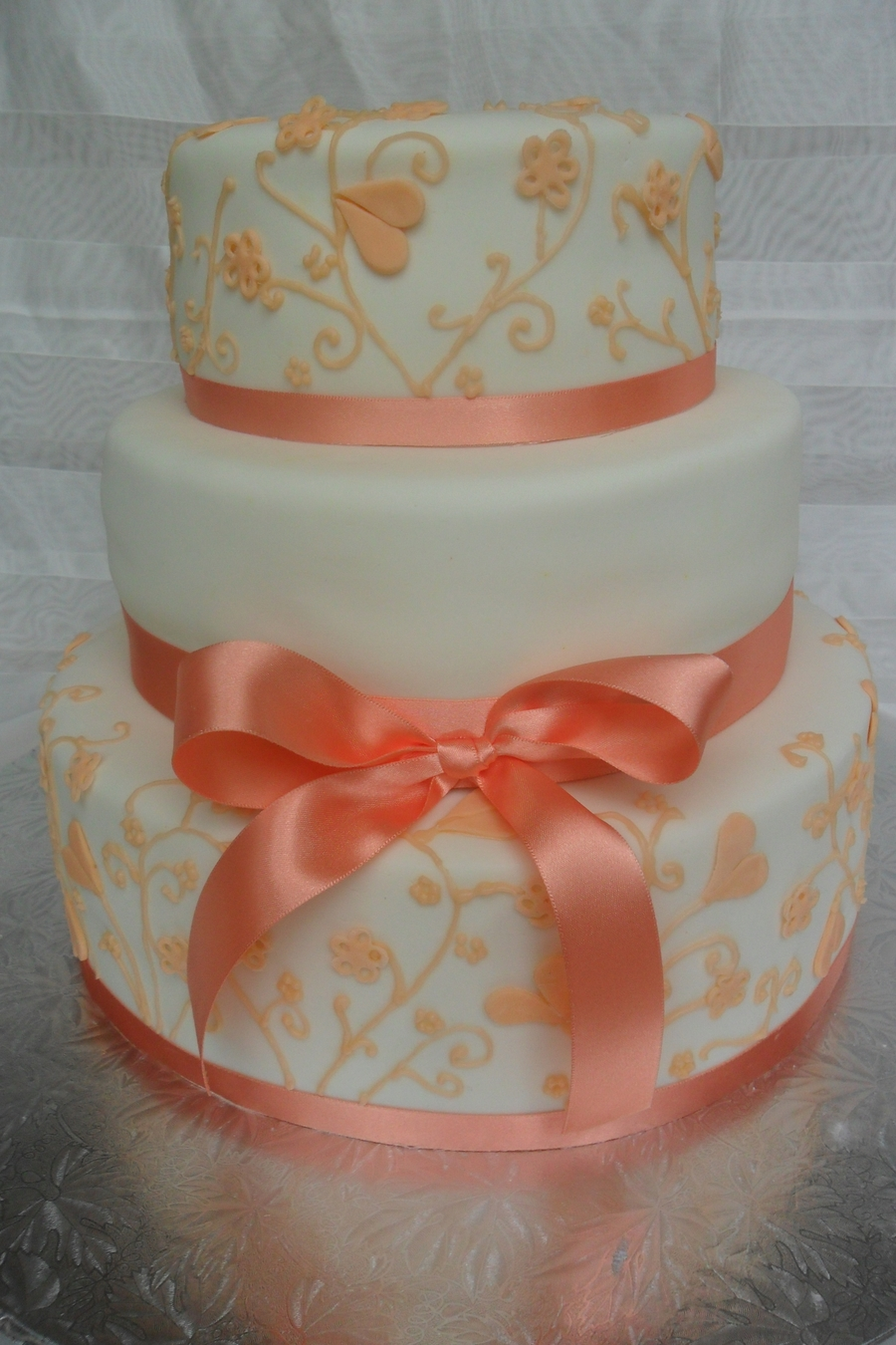 Apricot Wedding Cake on Cake Central