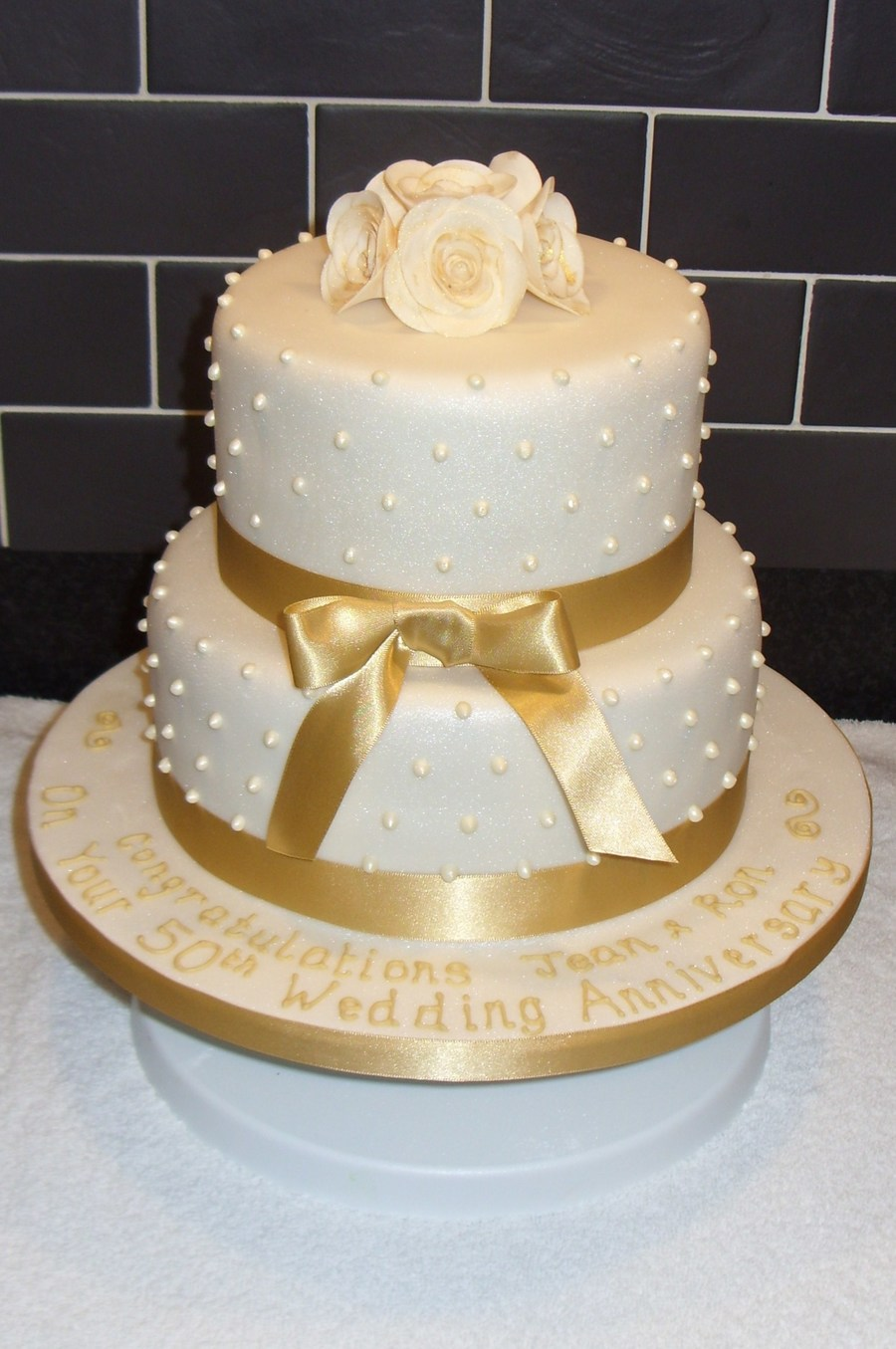 Golden Wedding Anniversary Cake - CakeCentral.com