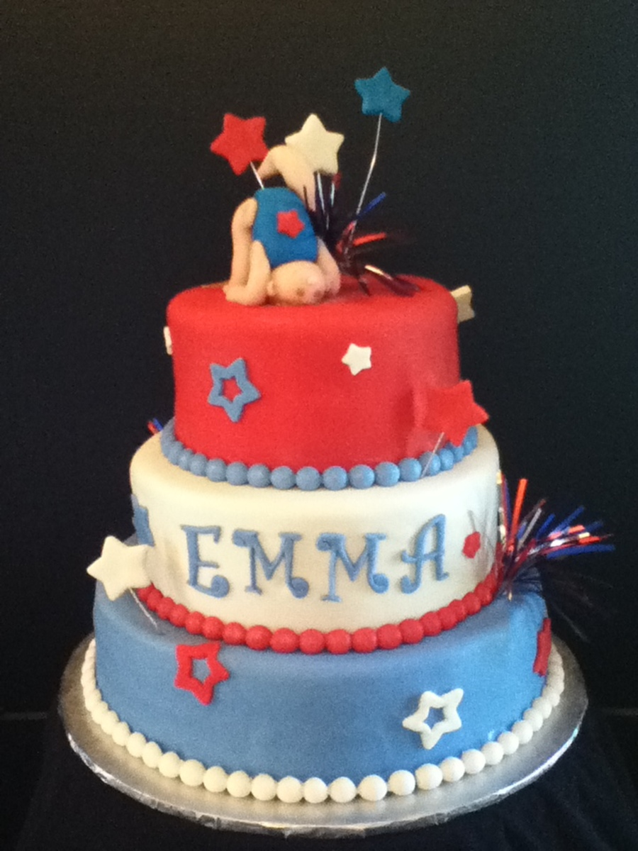Red, White & Blue Gymnastics Cake on Cake Central