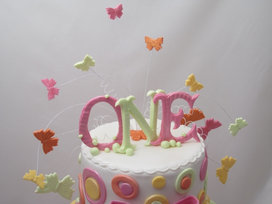 Wired Butterflies And Gumpaste Letters Topper For 1st Birthday Cake