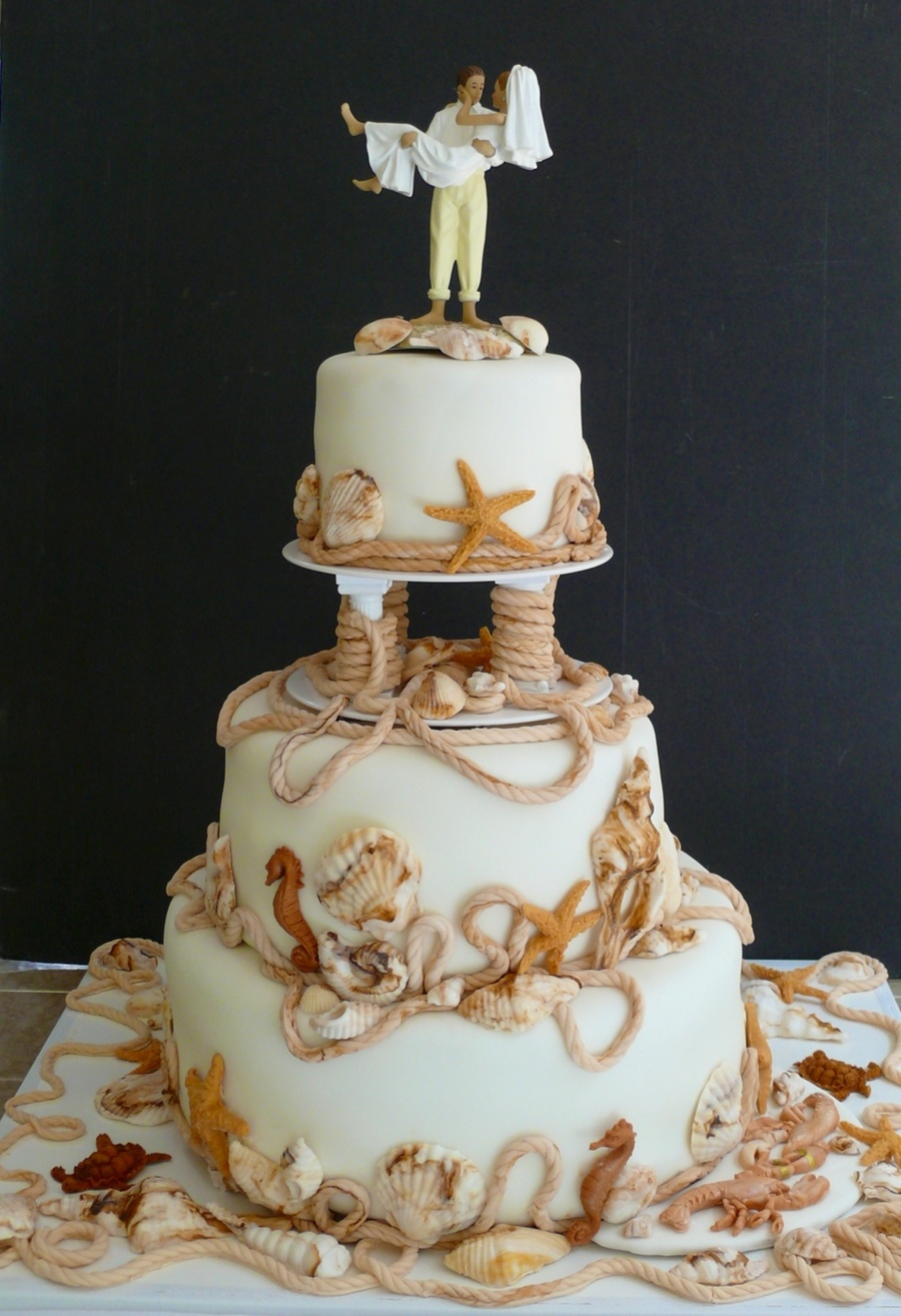 Beach Themed Wedding Cakes Pictures