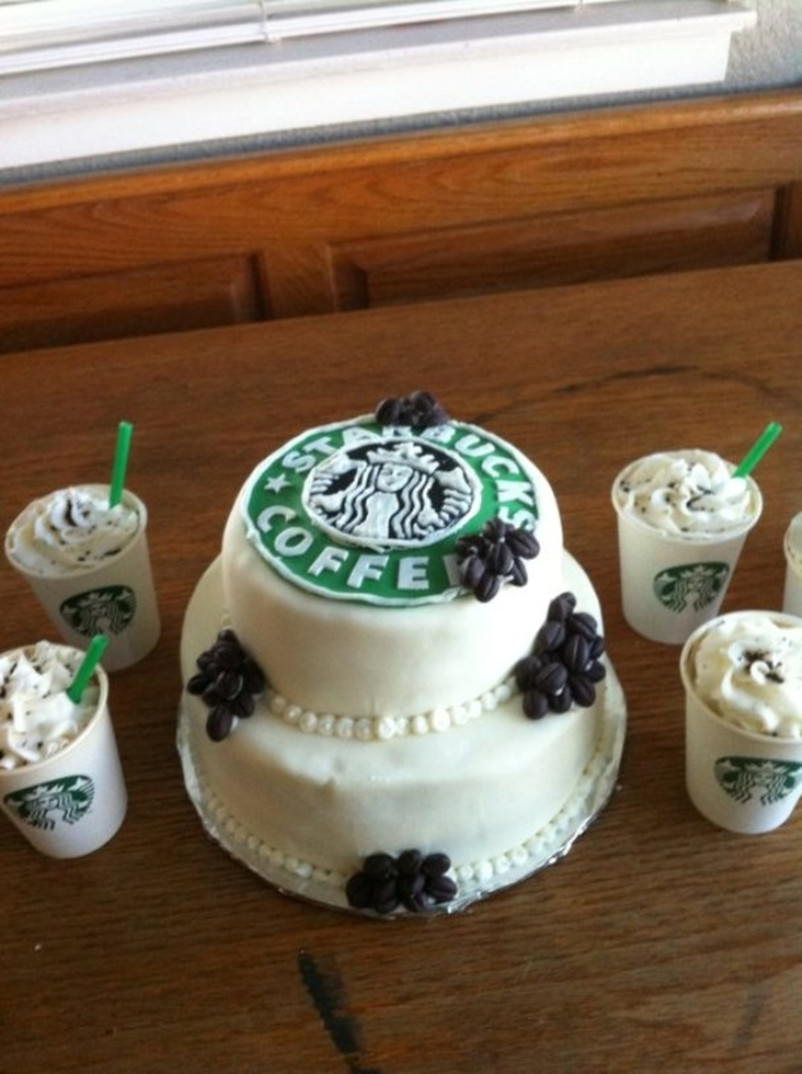 Starbucks Bridal Shower Cake - CakeCentral.com