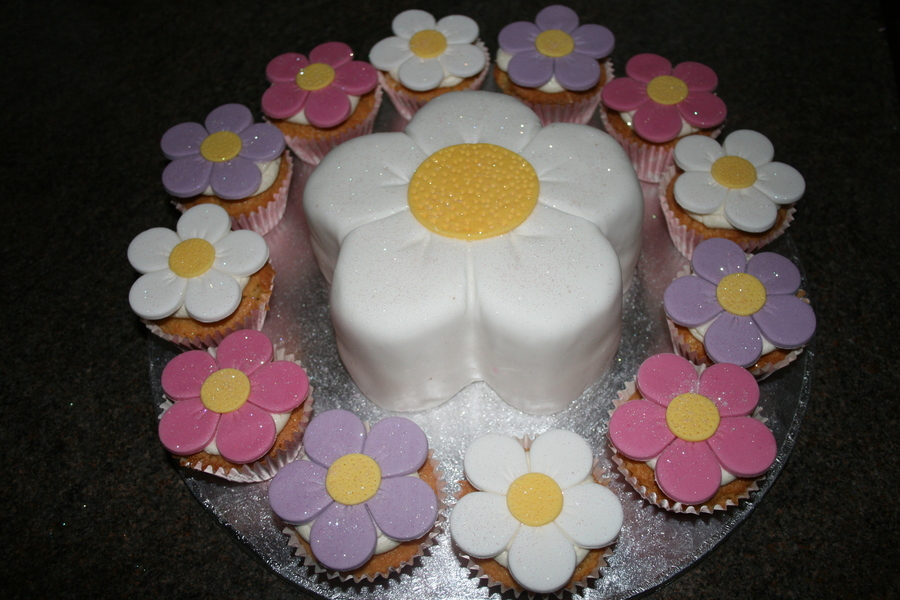 Flower And Flower Cupcakes on Cake Central