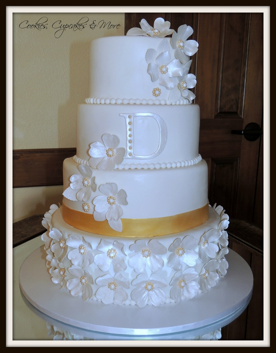 Gold & White Wedding Cake - CakeCentral.com