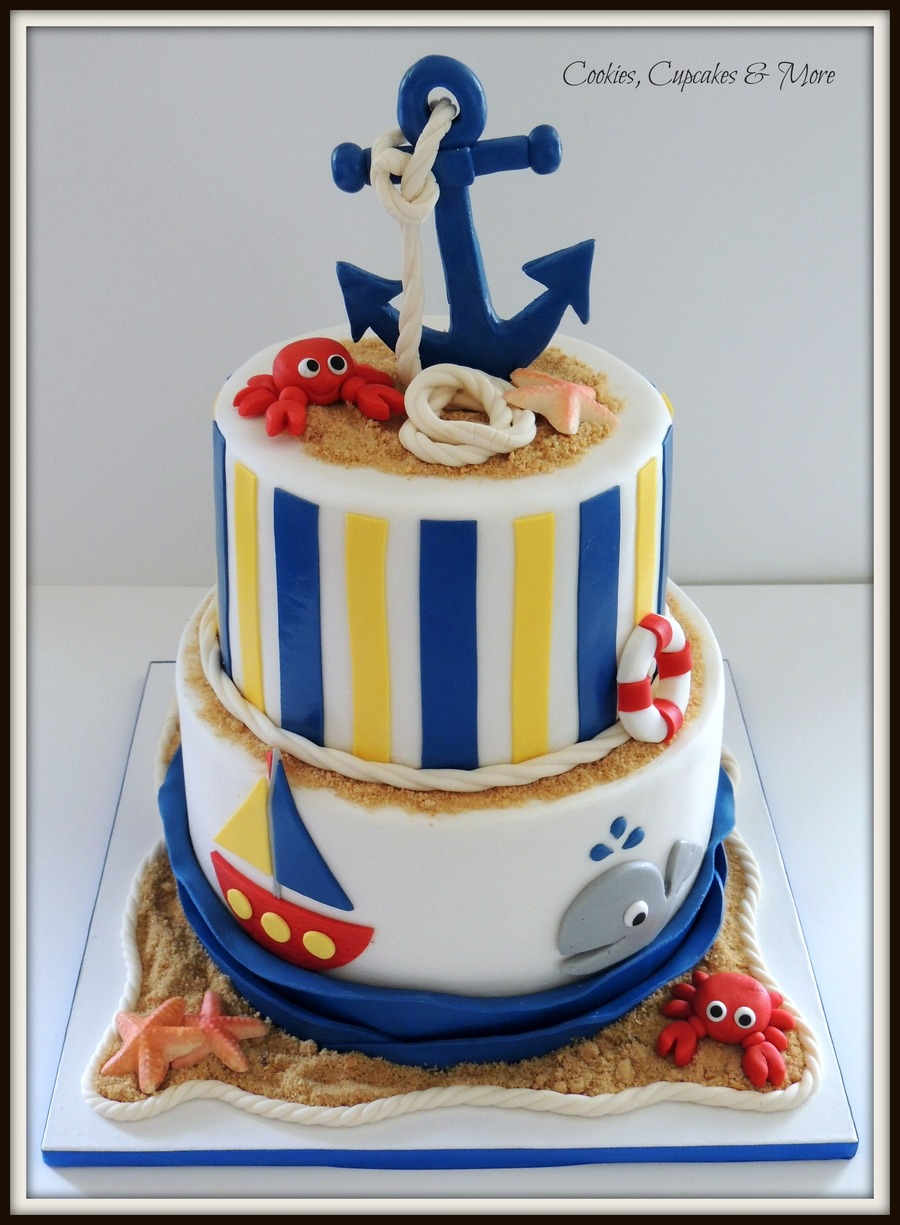 Baby Shower Cake Decorations Sainsburys : Nautical Baby Shower Cake - CakeCentral.com