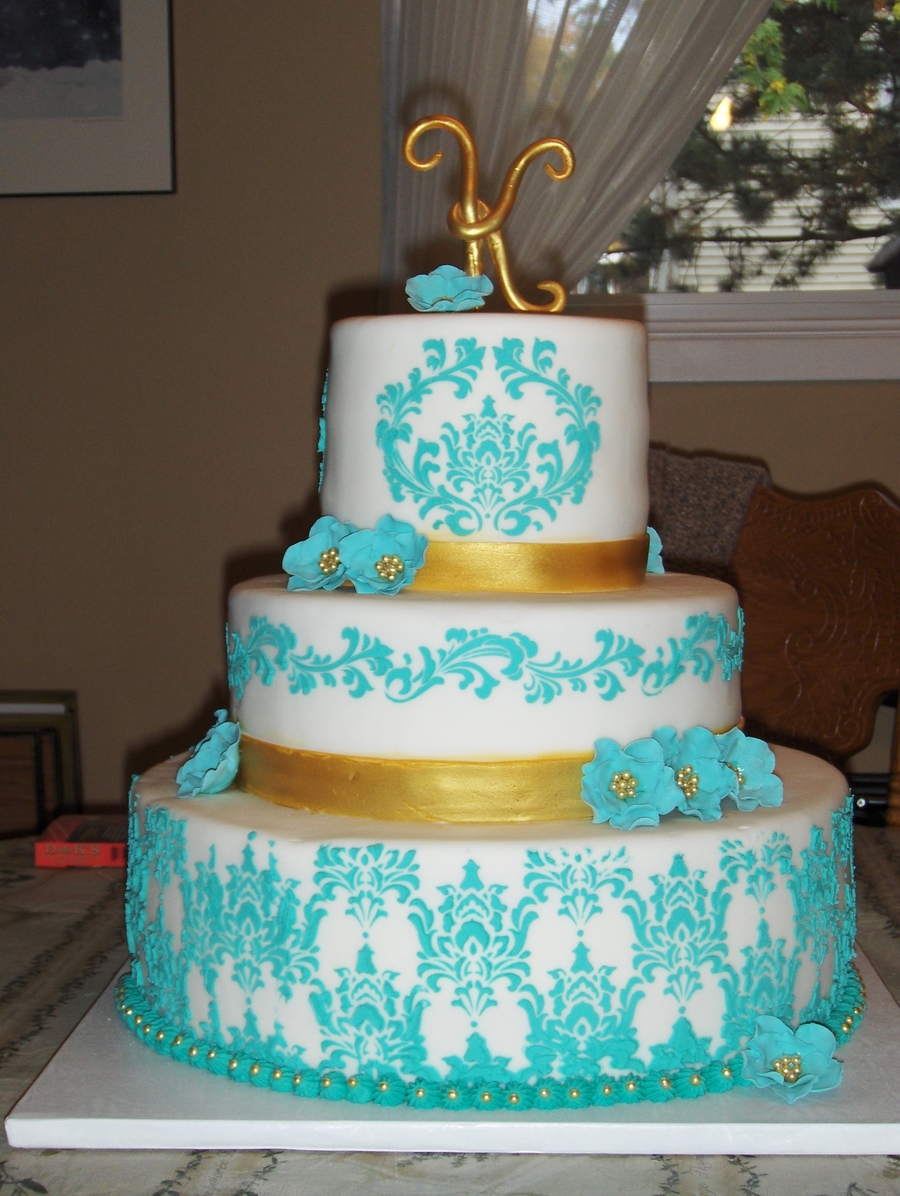 Turquious And Gold Sweet Sixteen on Cake Central