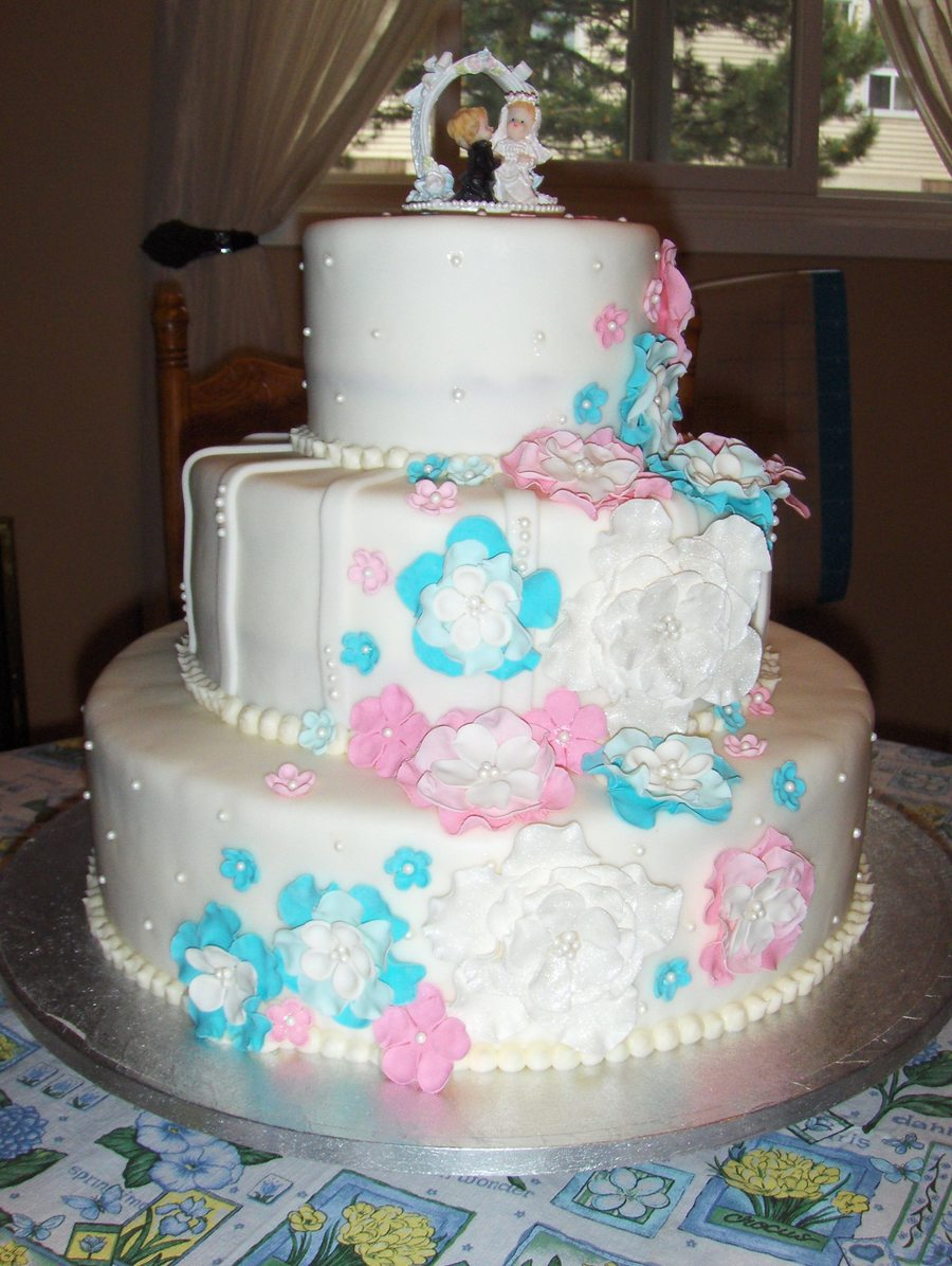 Pink Blue And Pearls on Cake Central
