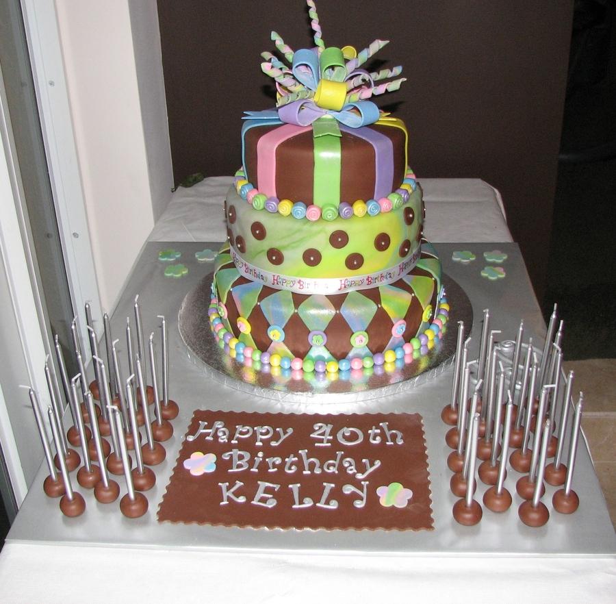 3 Tier Tie Dye Chocolate And Vanilla Buttercream Fondant 40th Birthday Cake