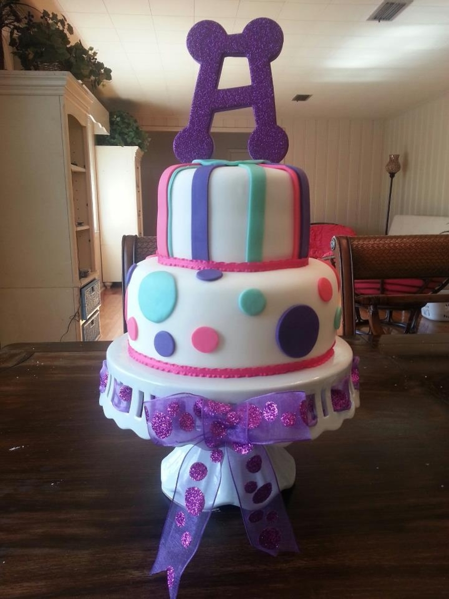 Purple Teal And Hot Pink Baby Shower Cake on Cake Central