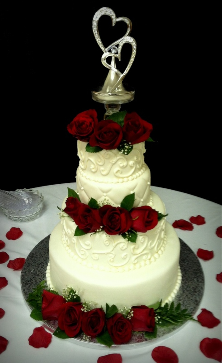 White Wedding Cake With Fresh Roses on Cake Central