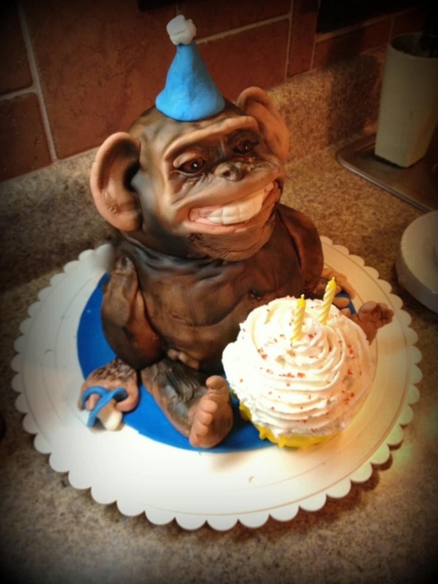 Nephew's Monkey Birthday Cake on Cake Central