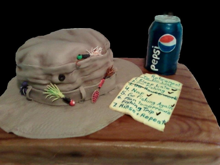 Fishing Hat Retirement Cake on Cake Central