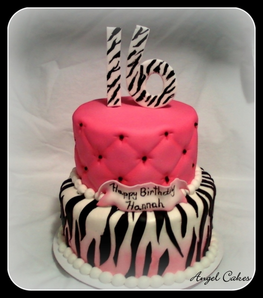 Sweet 16 Pink And Zebra Striped Cake - CakeCentral.com