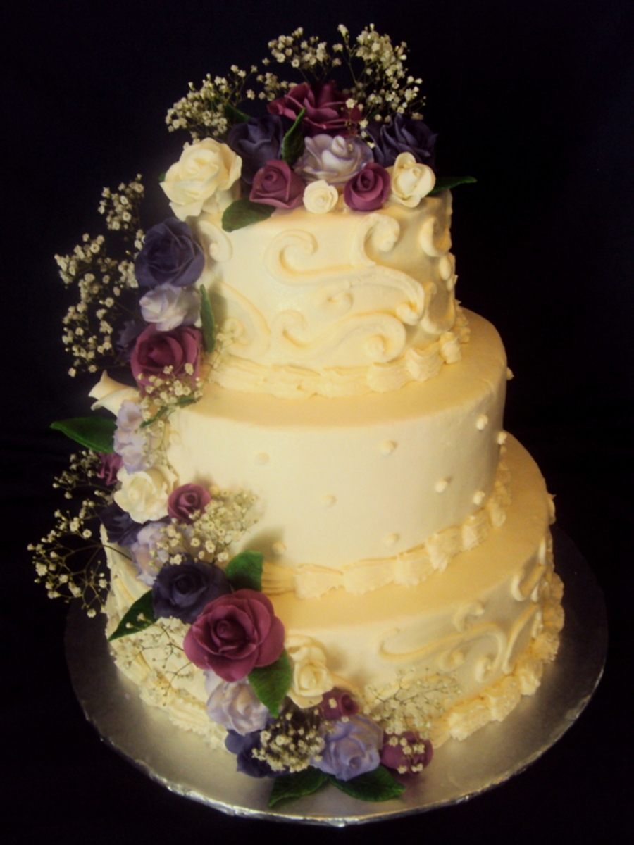 Purple Rose Wedding Cake on Cake Central