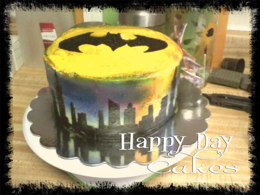 My First Go With An Airbrush Evening Skyline And Batman Logo ...