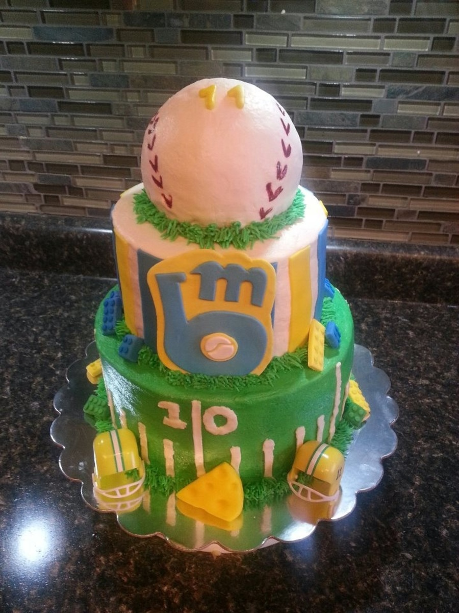 Made This For An 11 Yr Old Boy Who Wanted Packers Brewers And Legos  on Cake Central