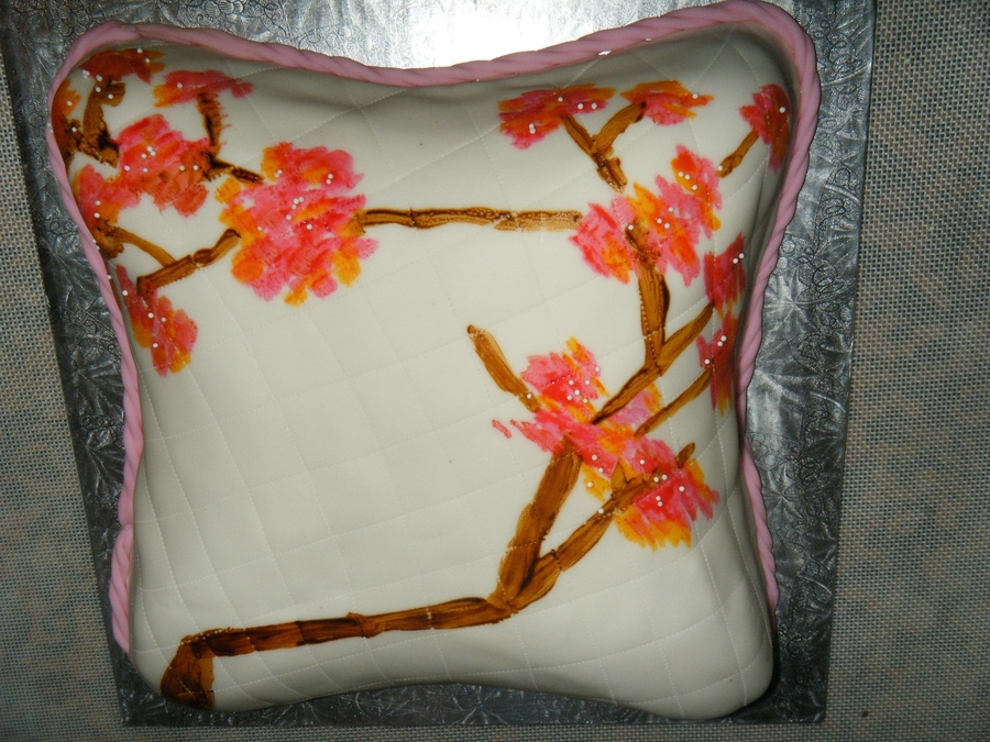 Vintage Cherry Blossom Pillow on Cake Central