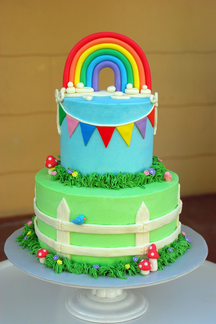 Italian Buttercream Rainbow Baby Shower Cake. Decorated With Handmade Sugar  Paste And Fondant Decor.