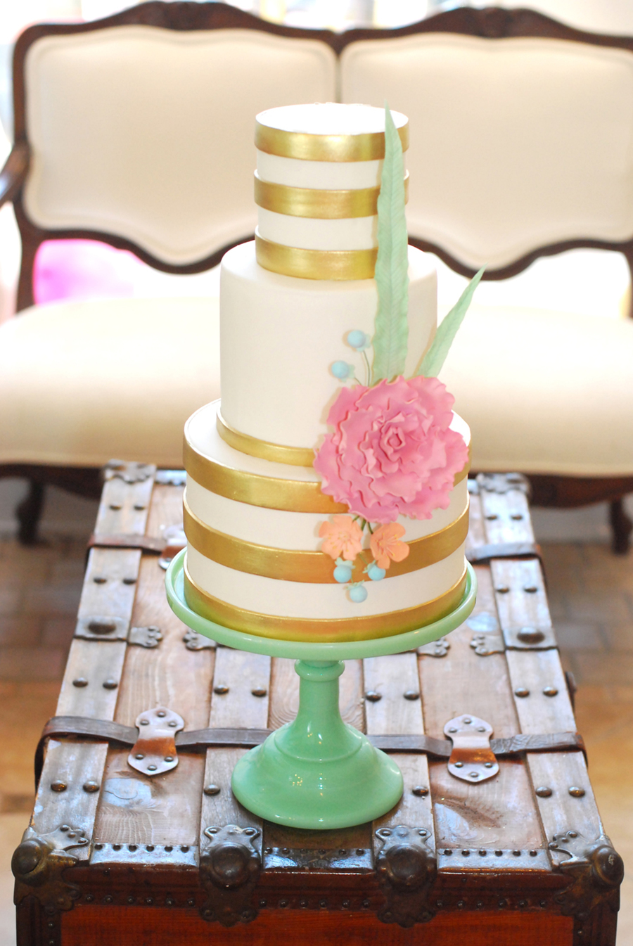 Metallic Gold Stripe Wedding Cake With Pastel Gumpaste Floral - Wedding Cake Richmond Va
