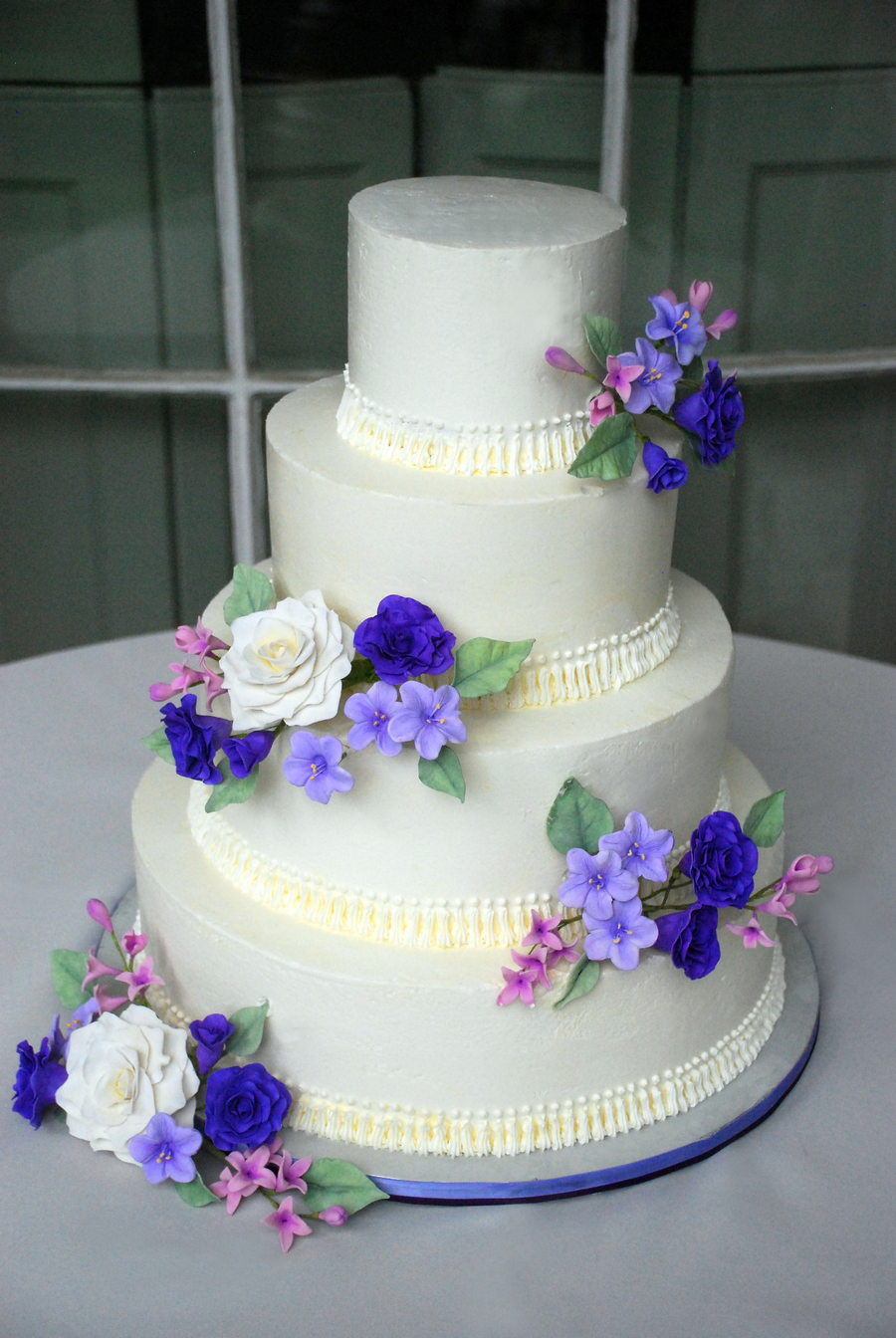 Purple Gumpaste Flowers 4 Tier Cake Cakecentral Com