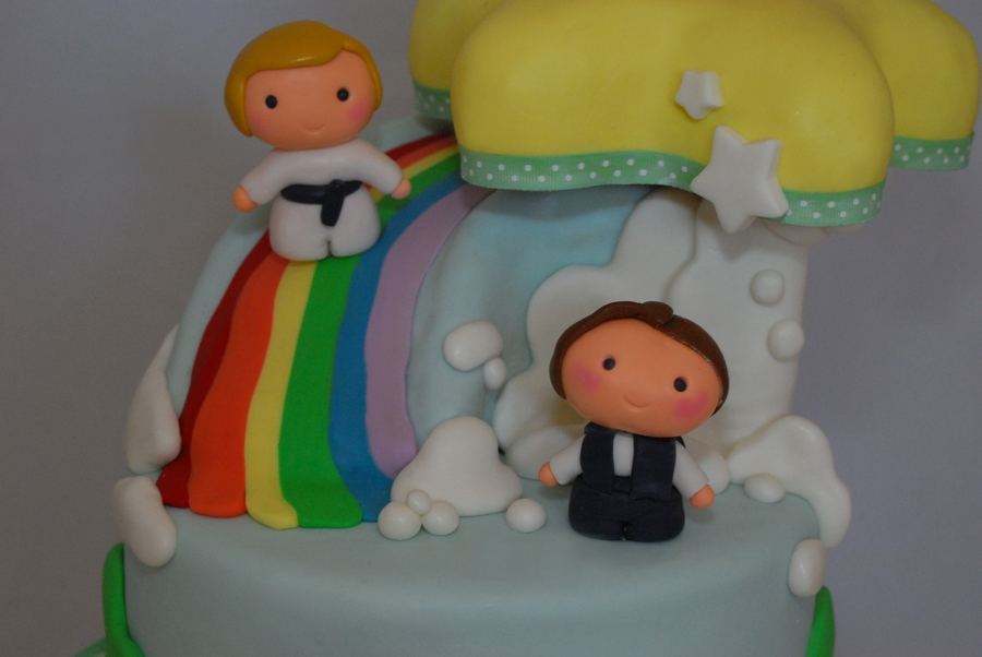 Baby Star Wars Theme Baby Shower Cake. Characters Are Made From Sugar  Paste. The Star Is A Layered Sculpted Cake As Well As The Rainbow Slide.