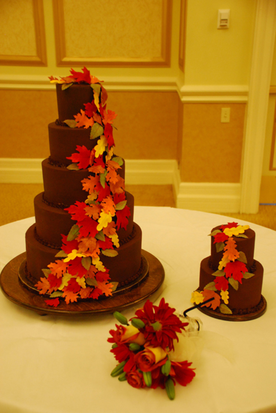 Ganache 5 Tier Fall Leaves Wedding Cake - CakeCentral.com