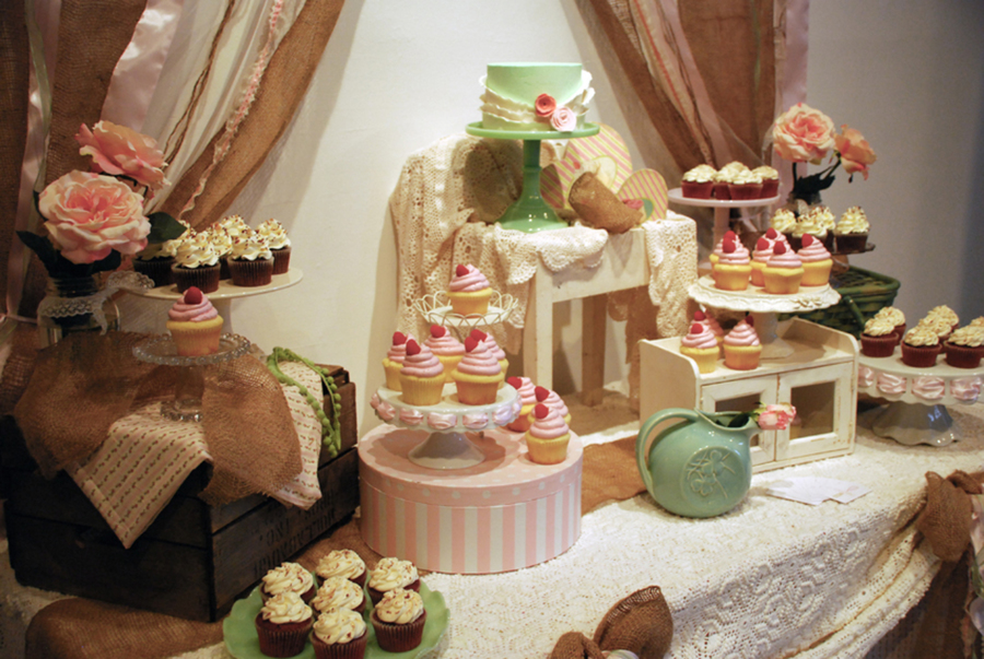 Shabby Chic & Rustic Wedding Cupcake Dessert Table - CakeCentral.com