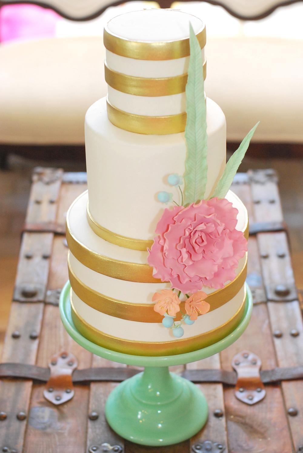 Wedding Cake Richmond Va Metallic Gold Stripe With Pastel Gumpaste Floral Arrangement Jadeite Pedestal Vintage Glam Sweet Fix