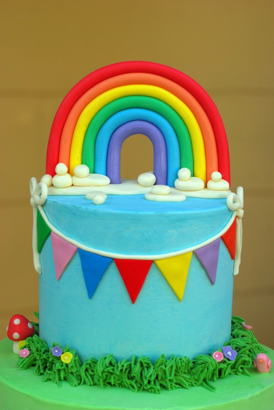 Rainbow baby shower cake for Baby shower cakes decoration