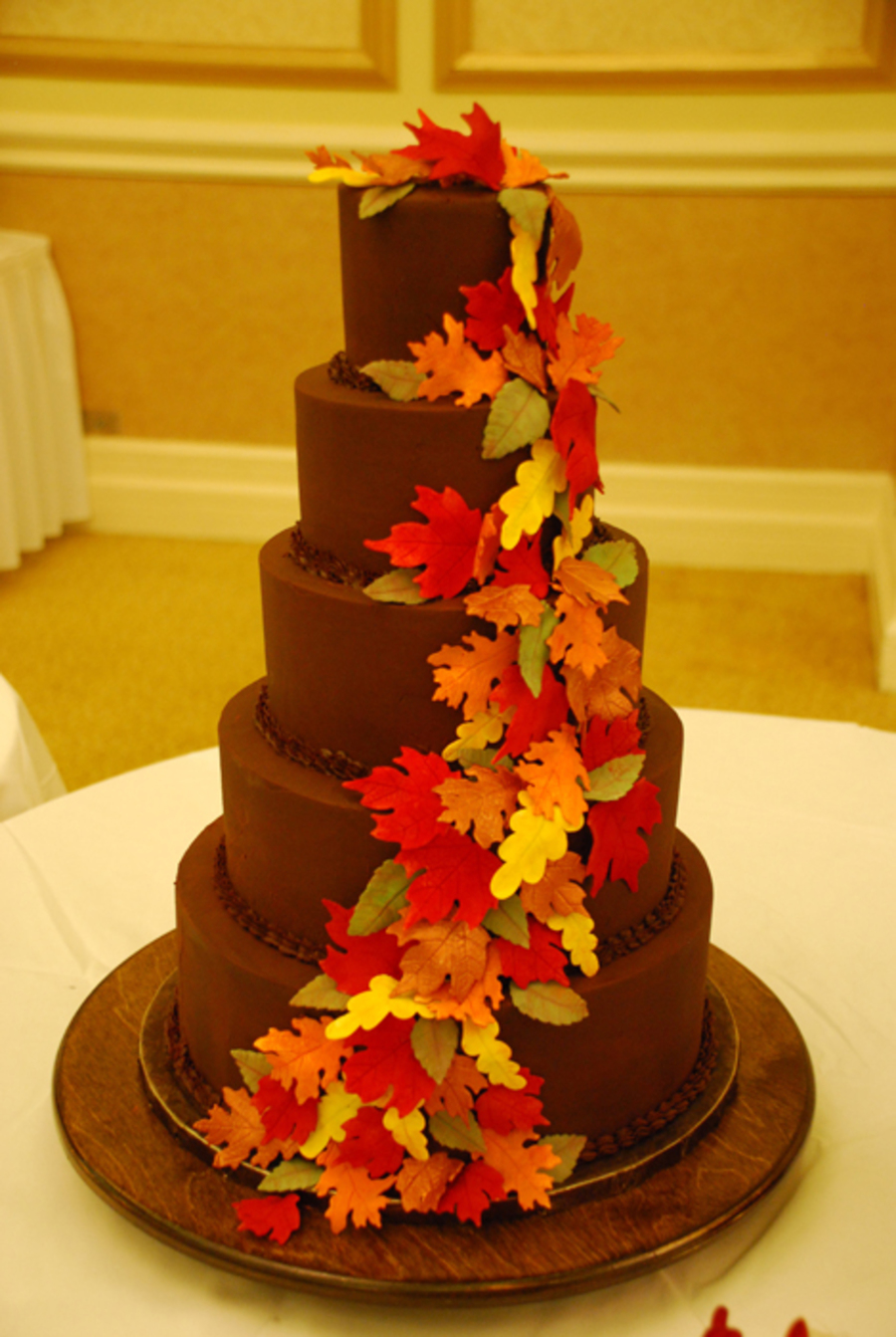 Ganache 5 tier fall leaves wedding cake for Autumn cake decoration