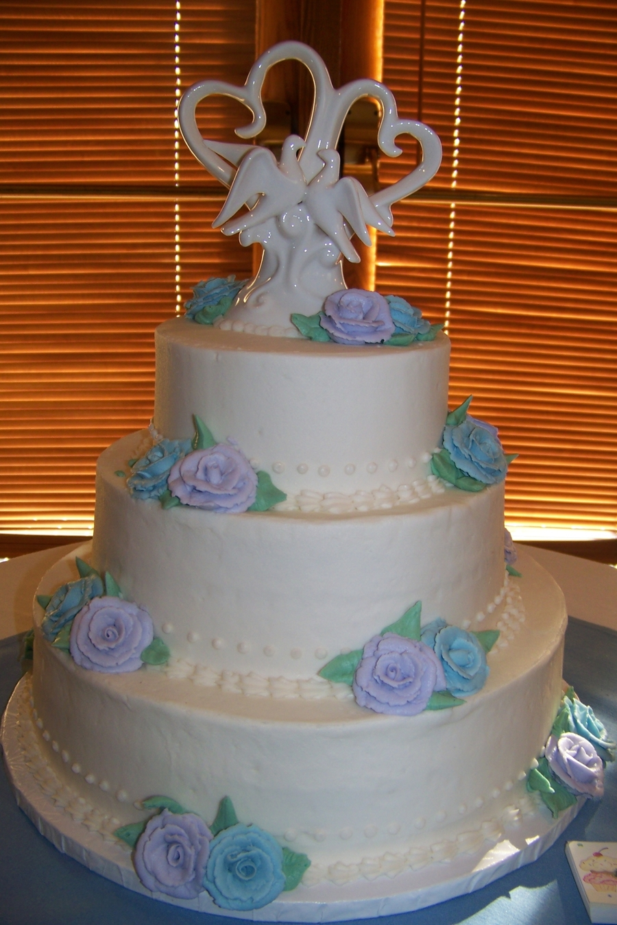 Buttercream Rose Wedding Cake  on Cake Central