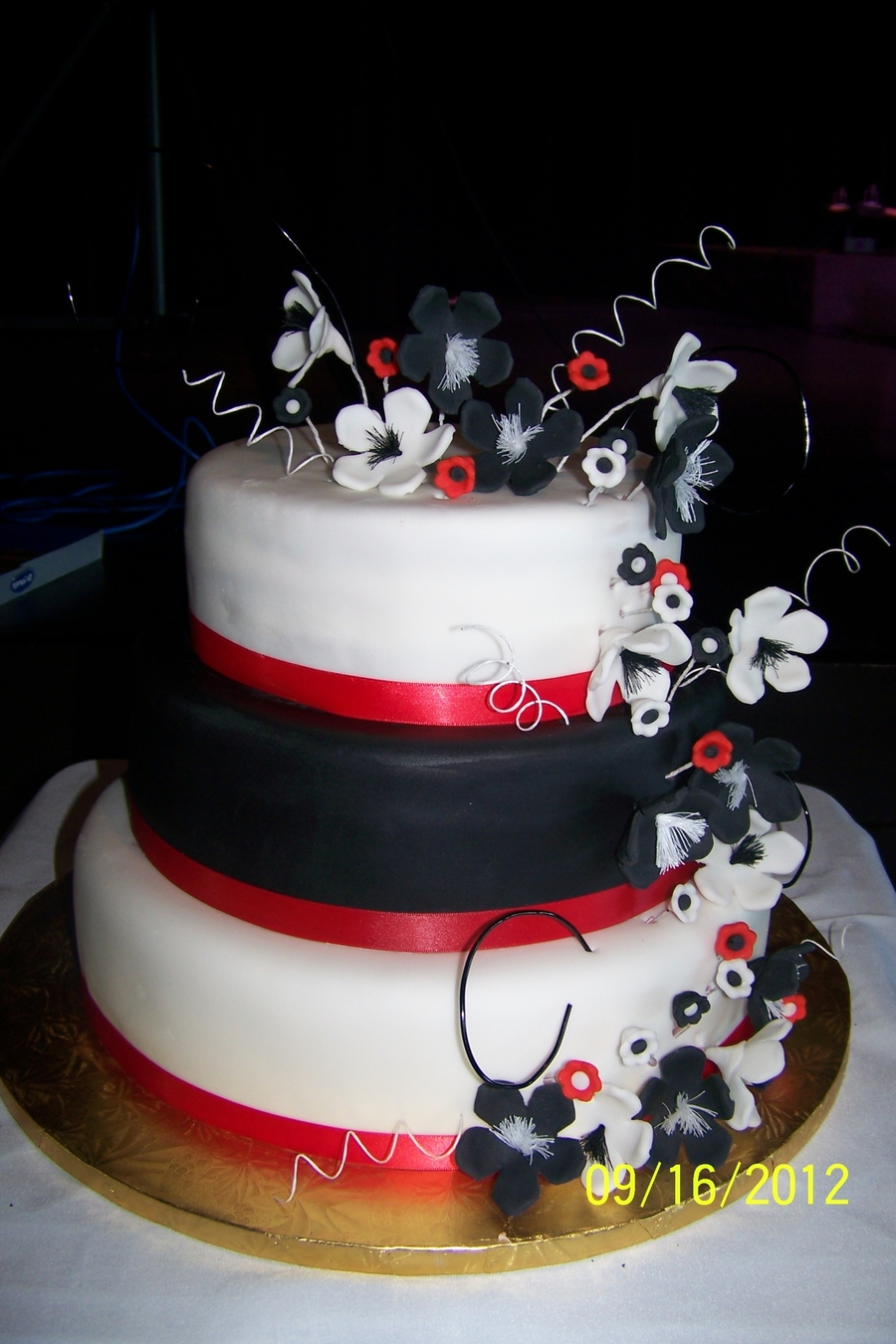 Red, White, And Black Wedding Cake - CakeCentral.com