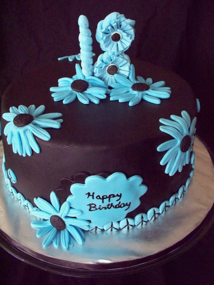 Peacin' Out With Blue Daisies on Cake Central