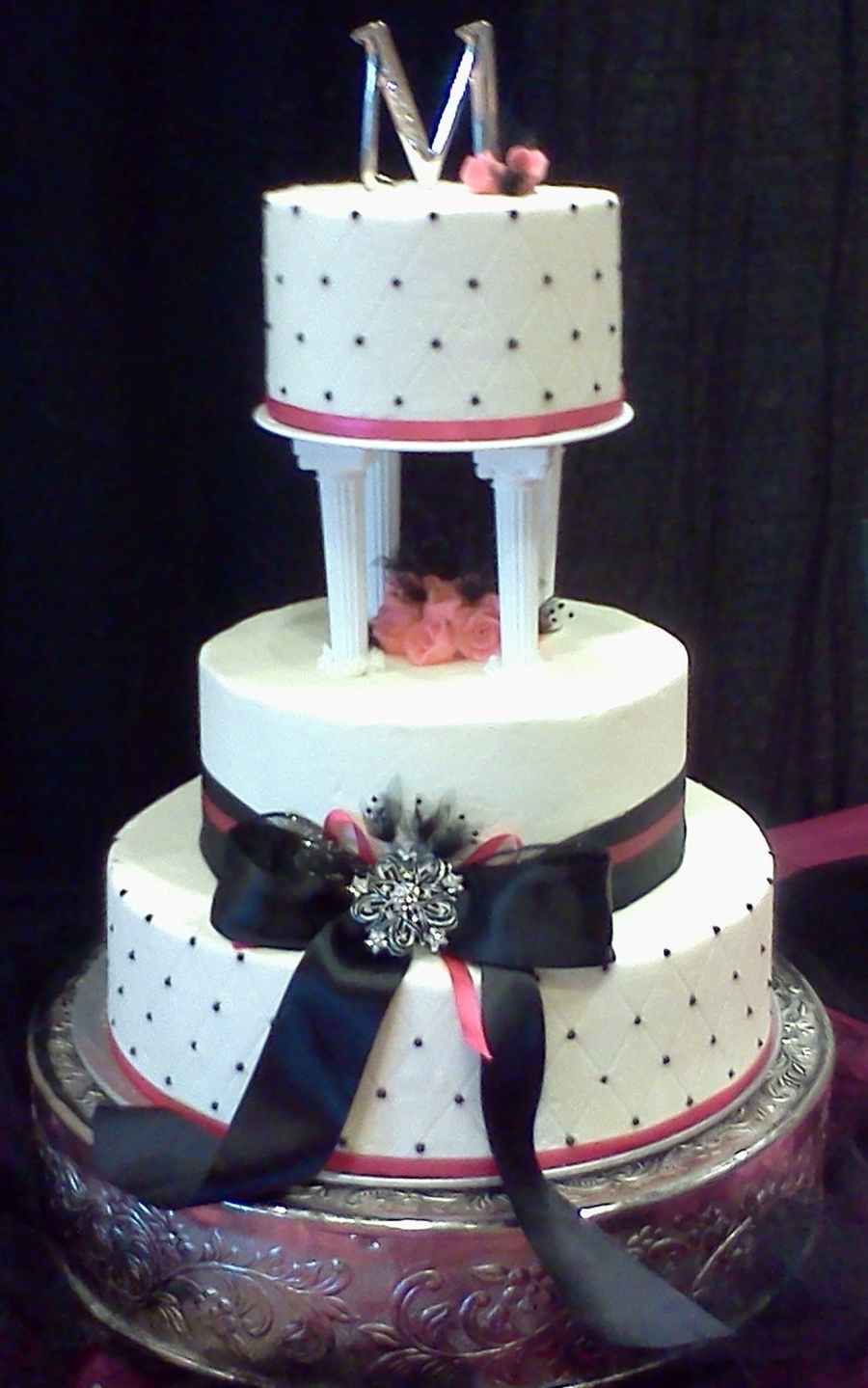pink and black wedding cakes pink and black wedding cake cakecentral 18534