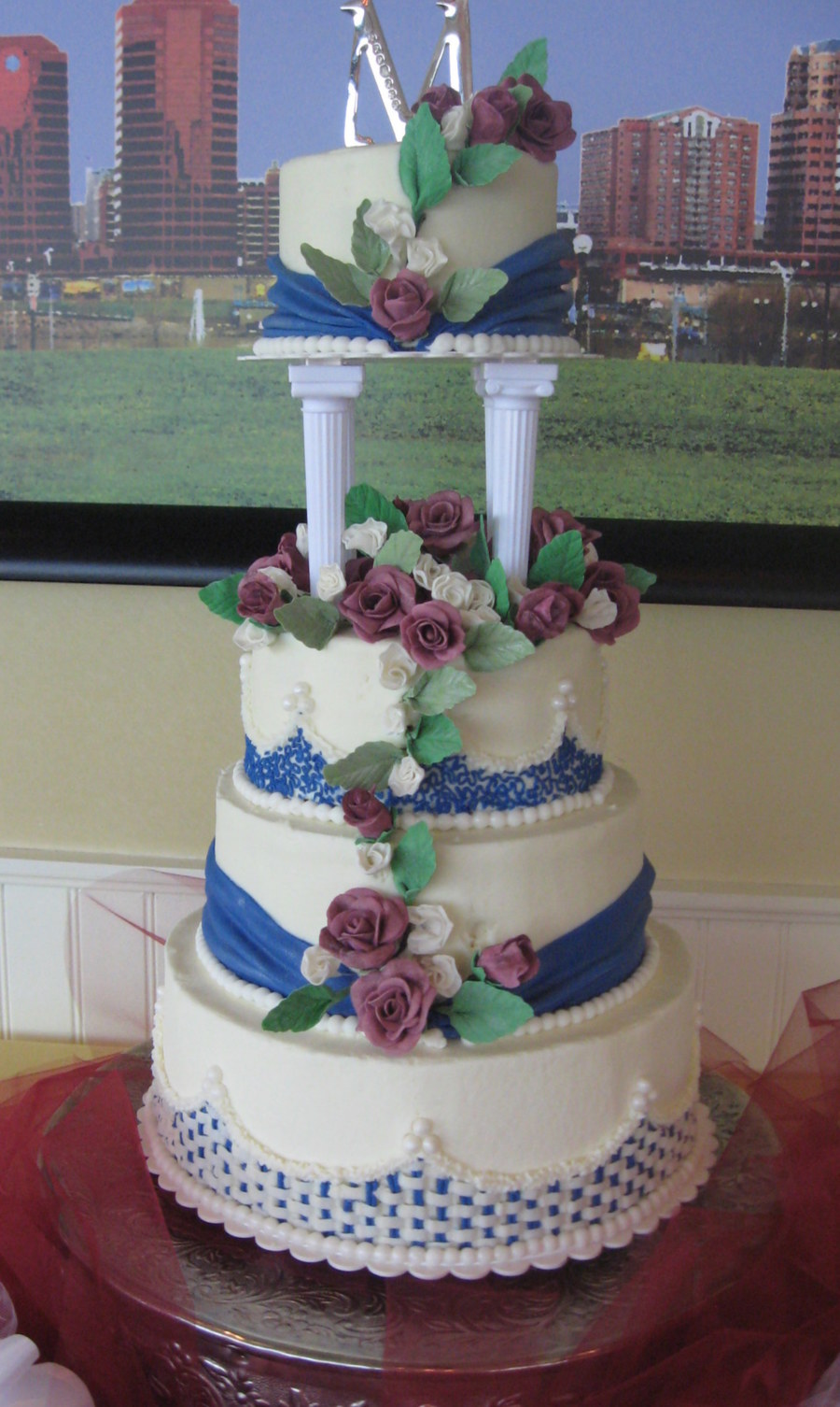 burgundy and navy wedding cake burgundy and navy blue wedding cake cakecentral 12230