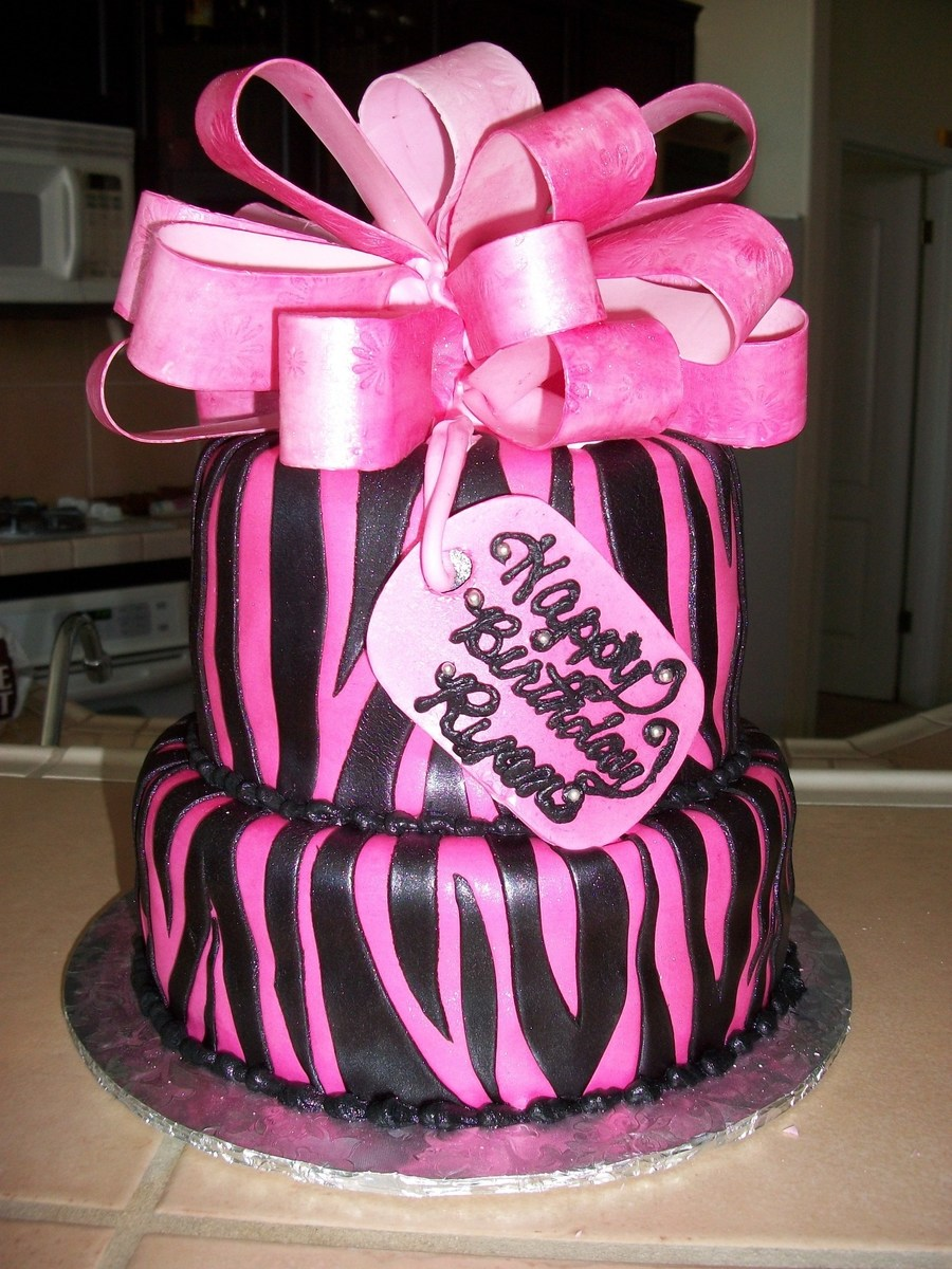 Pink & Black Zebra Stripes And Bow on Cake Central