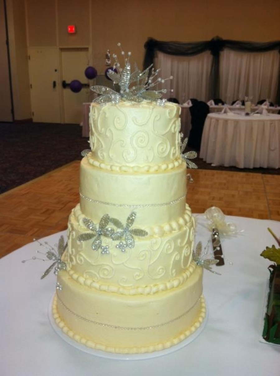 Wedding Cake With Bling Flowers on Cake Central