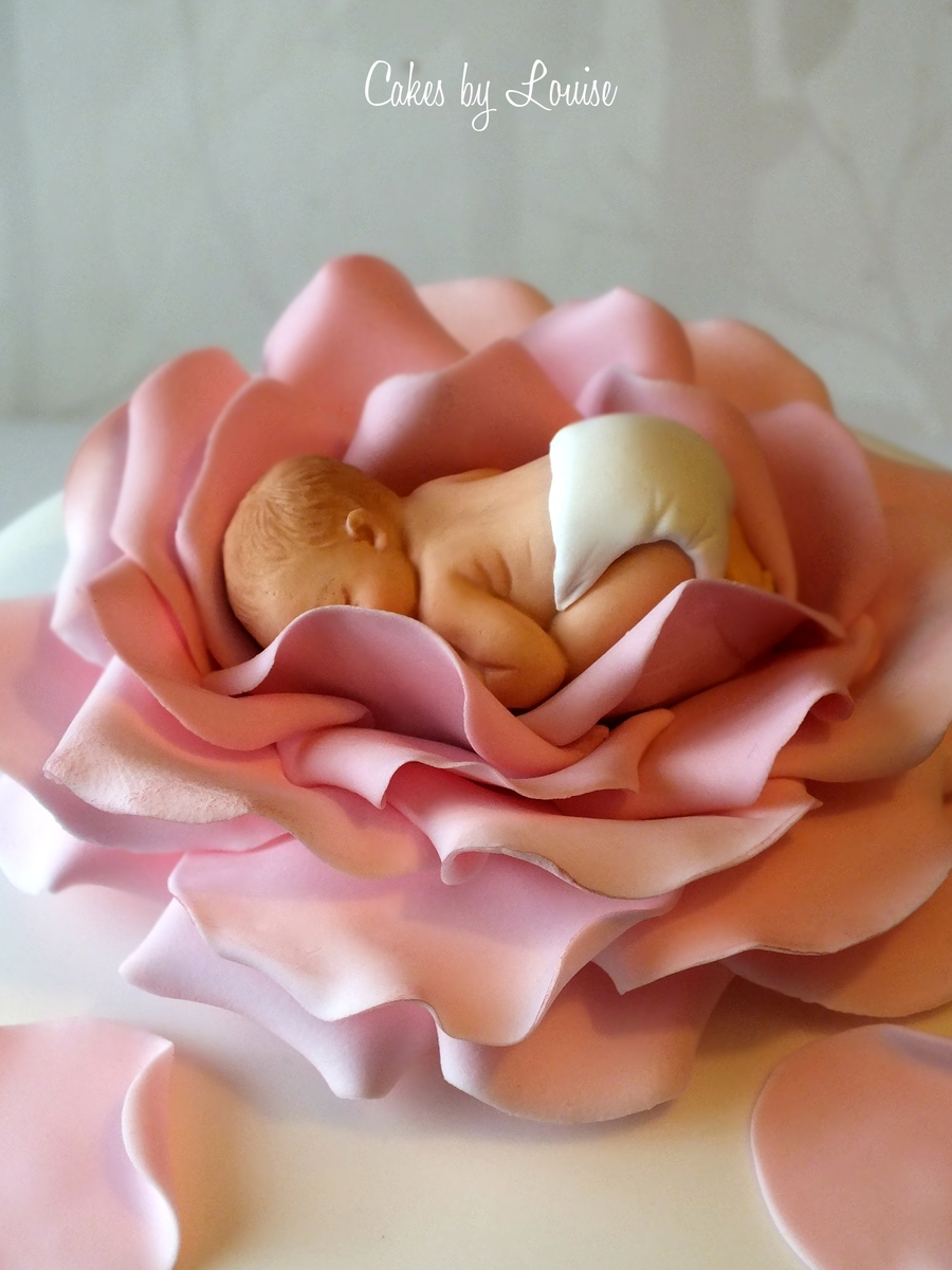 Orange And Pink Baby Shower Cake