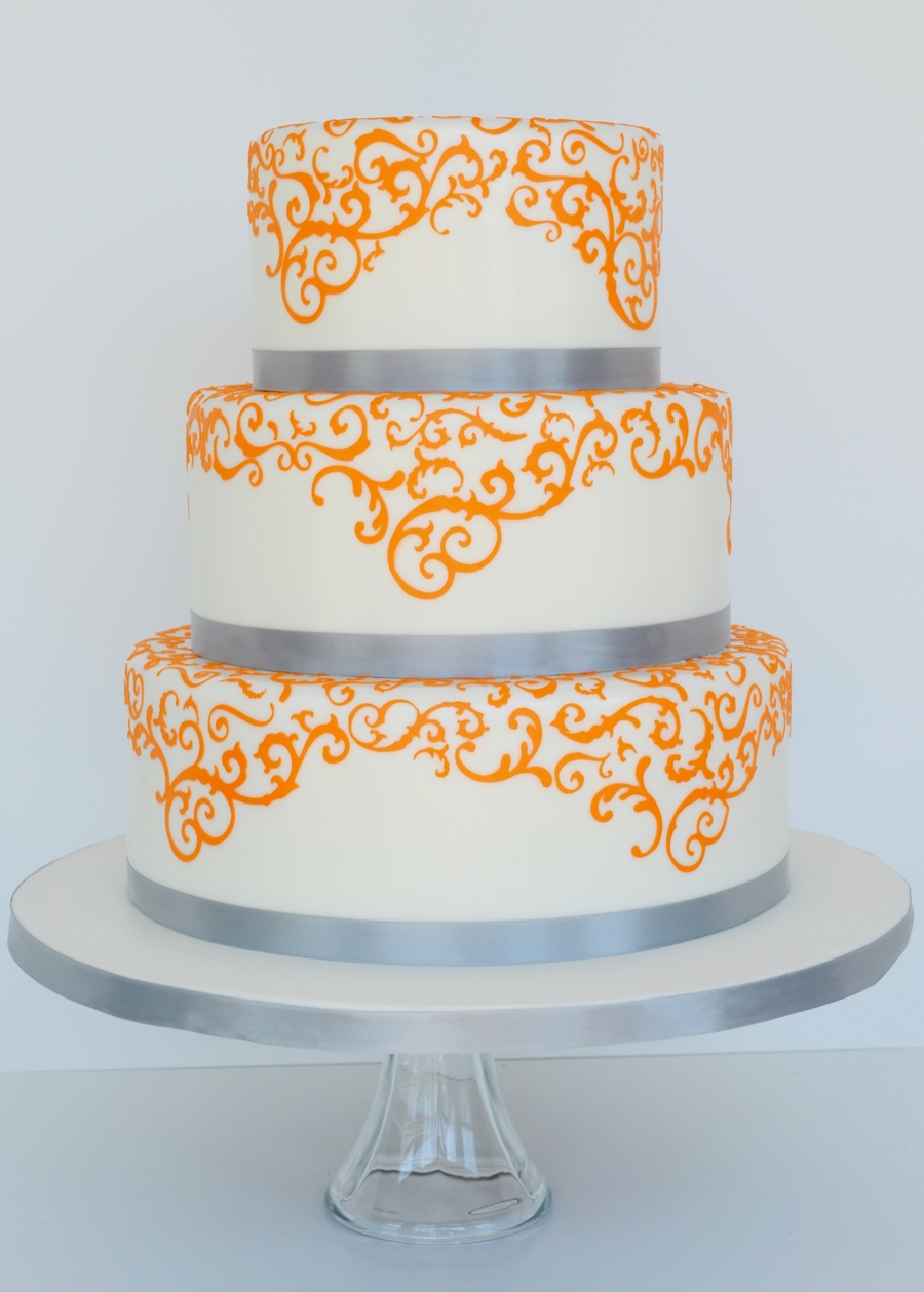 Orange And Grey Wedding Cake Cakecentral Com