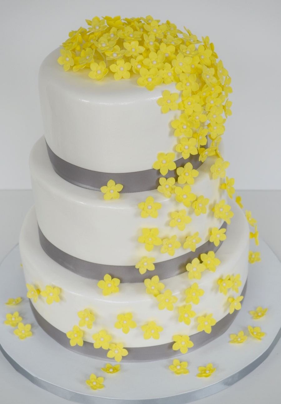 Yellow Grey And White Wedding Cake