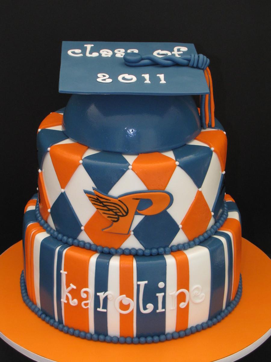 Orange And Blue Graduation Cake Cakecentral Com