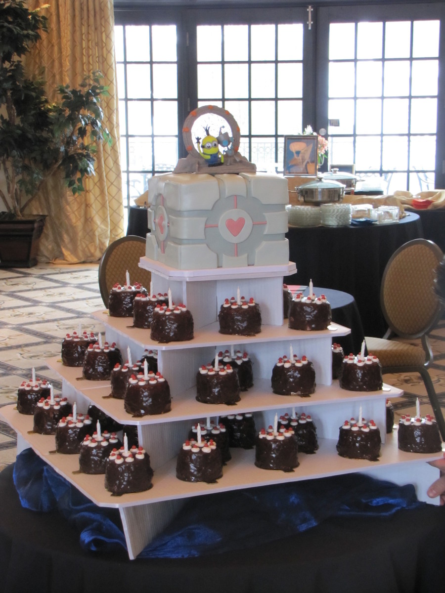 "Companion Cube And ""the Cake Is A Lie"" Mini Cakes on Cake Central"