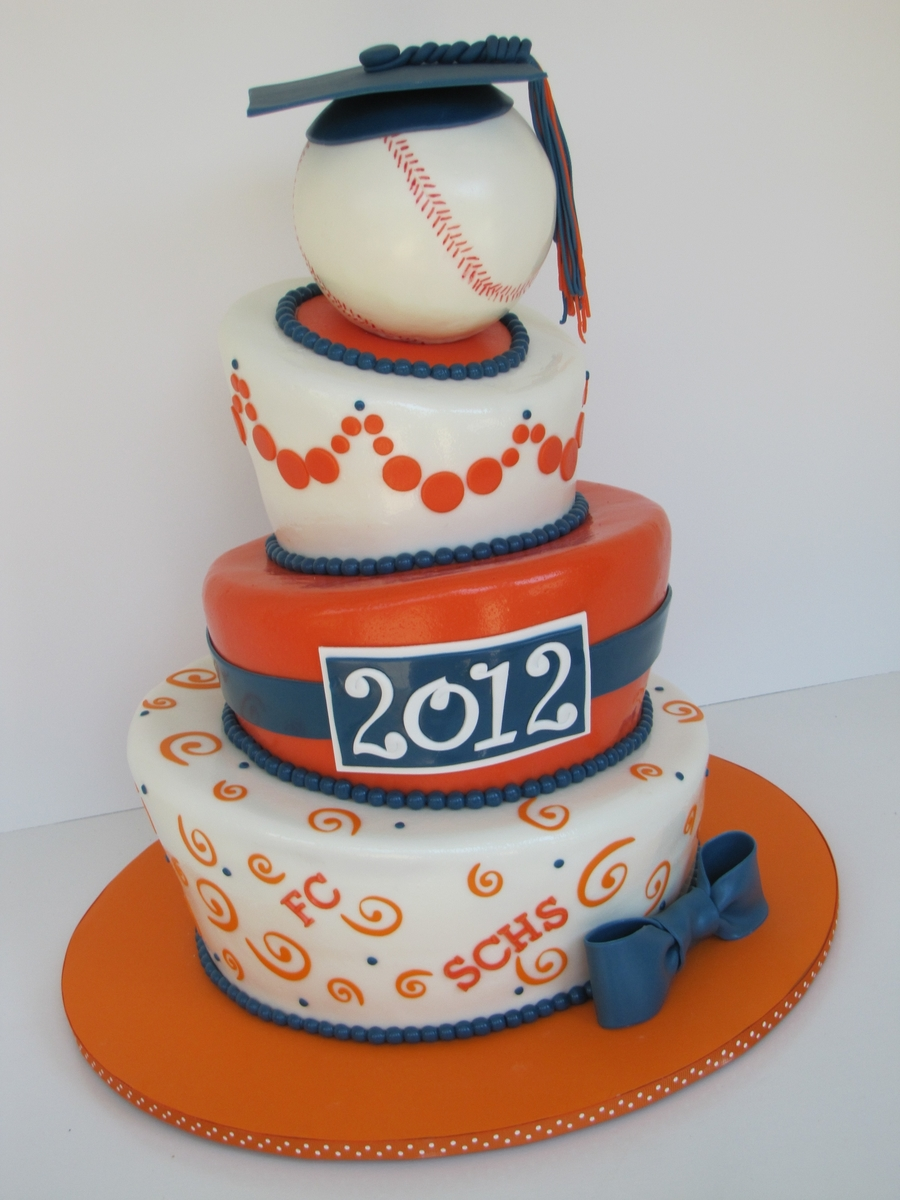 Three Tier Topsy Turvy Graduation Cake With A Softball On Top The High School Graduate Was Going To Play In College Inspired By Rebecca Sutterby