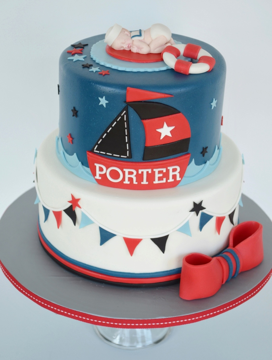 Nautical Baby Shower Cake on Cake Central