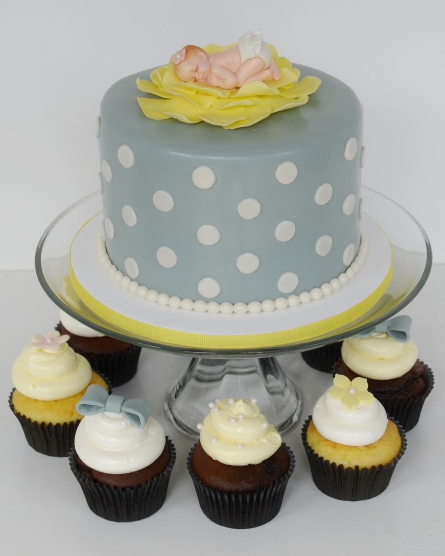 Gray And Yellow Baby Shower Cake And Cupcakes On Cake Central