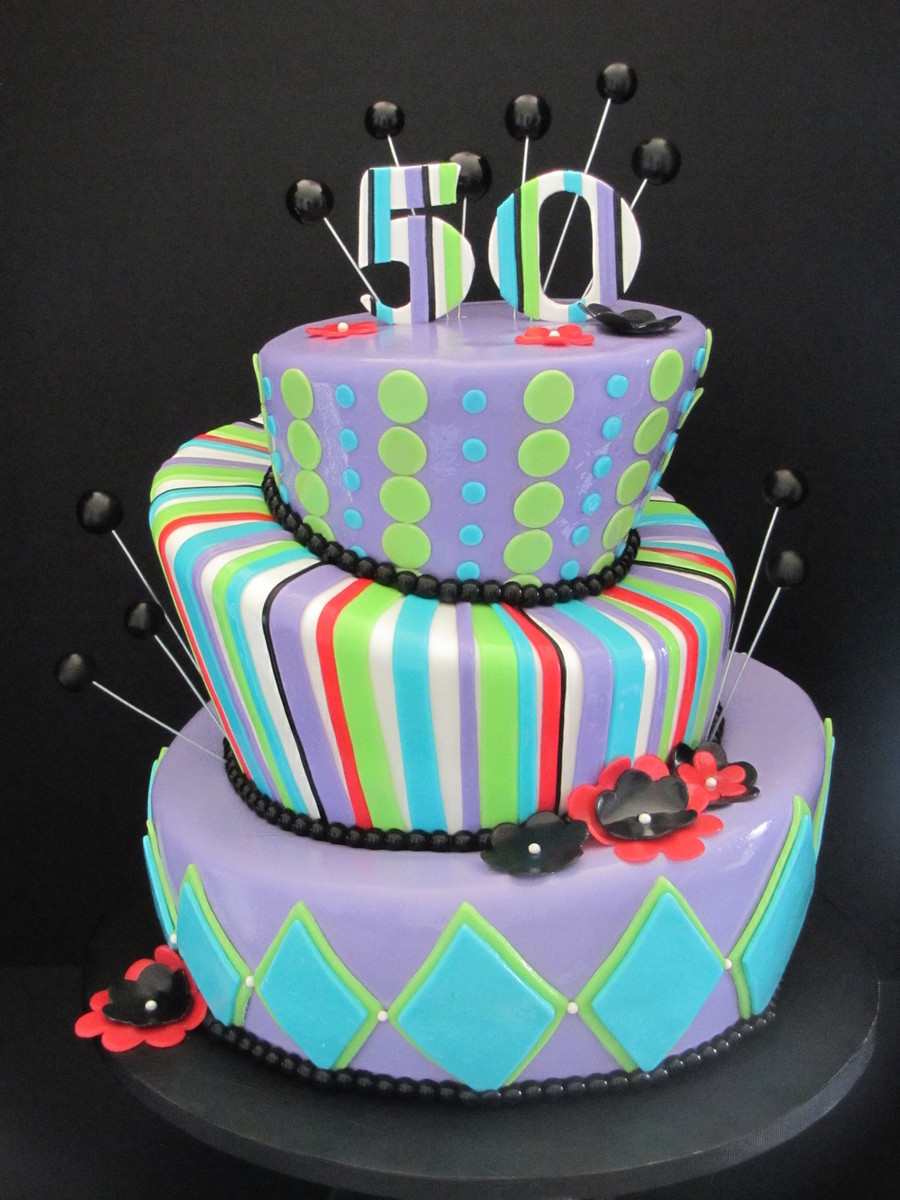Topsy turvy 50th birthday cake for 50th birthday cake decoration ideas
